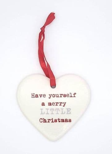 Ceramic Christmas hearts - have yourself a merry little christmas